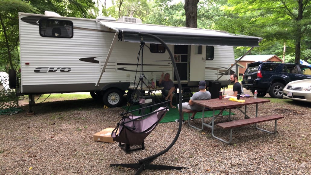 An RV sits in a spot at Water's Edge Family Campground, Connecticut