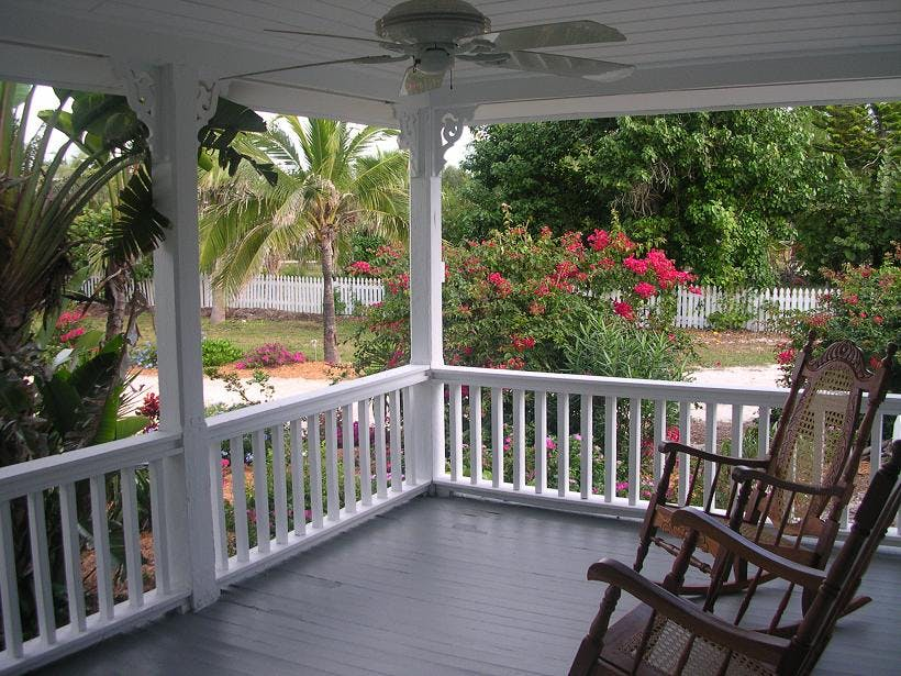 front porch cabin at pirateland rv