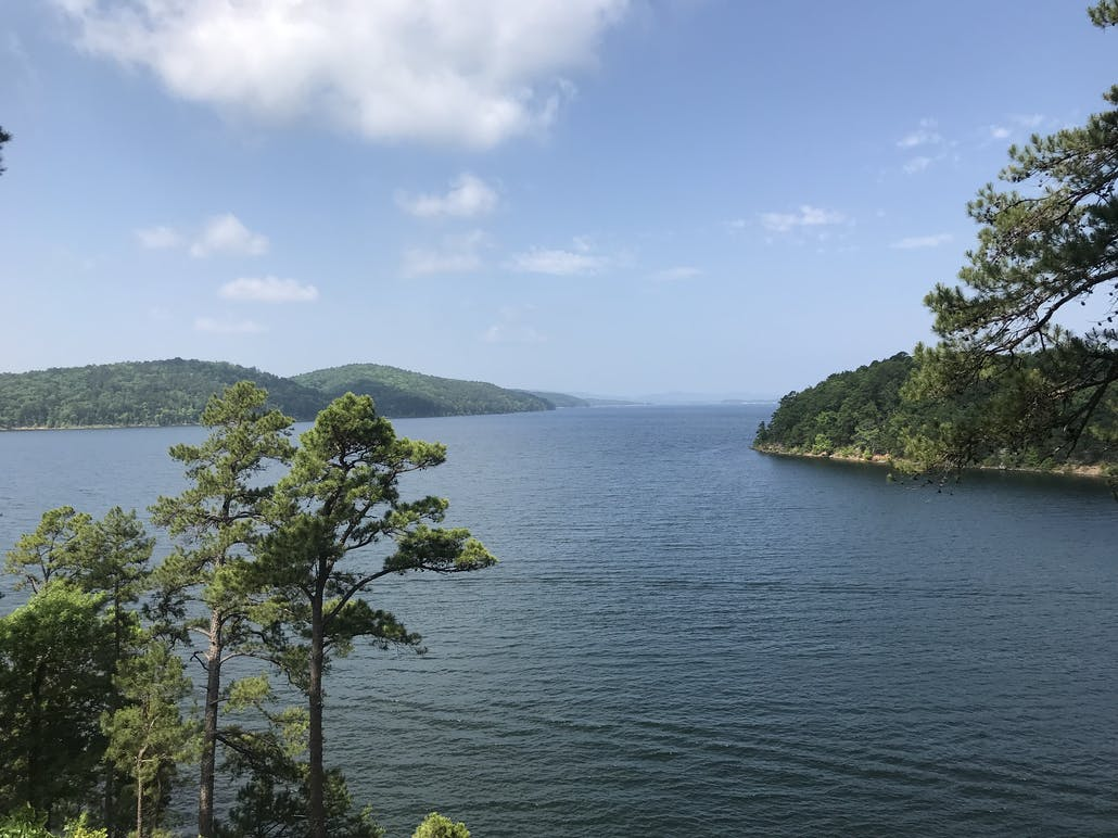 Lake Ouachita panoramic views in Ouachita National Forest