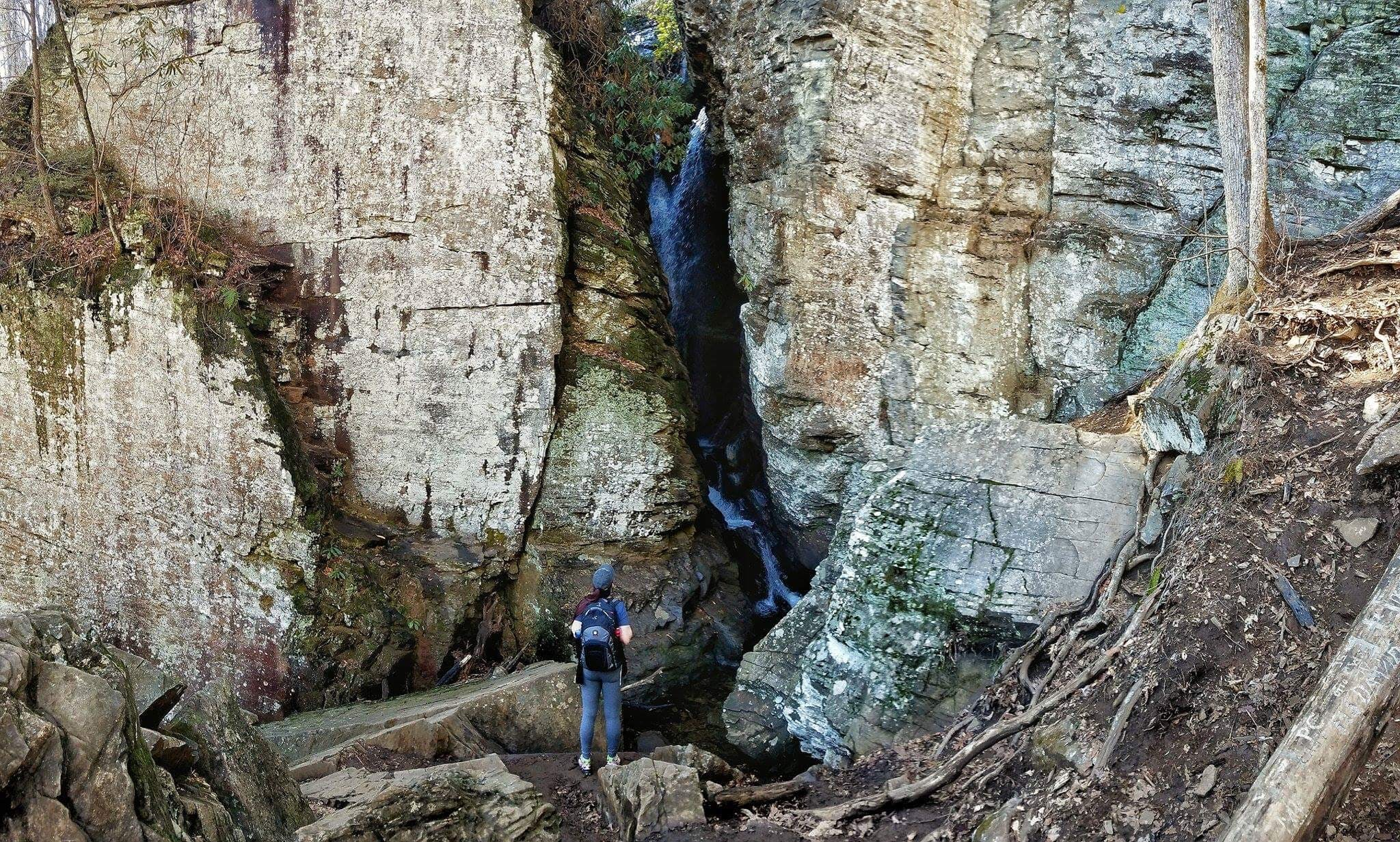hiker in the distance looks up at the large raven cliff falls in front of him