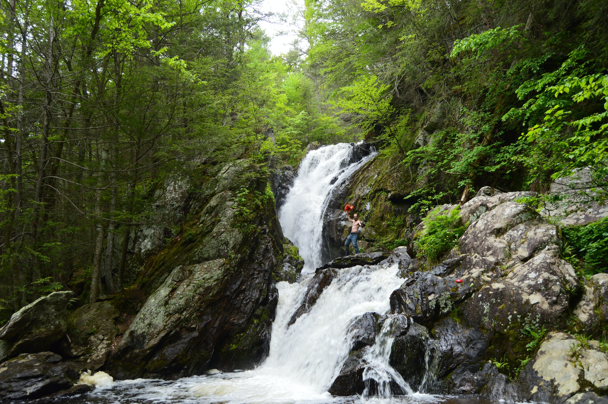 People hike along rocks on the side of a waterfall in the forest.